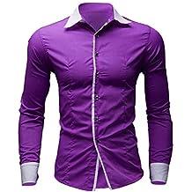 Camisas Casual Hombre Manga Larga, Covermason Camisa de Negocio Casual de Color Puro para Hombre