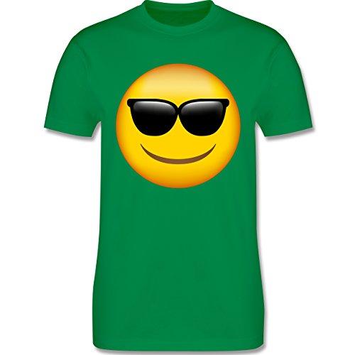 Comic Shirts - Emoji Sonnenbrille - L - Grün - L190 - Herren T-Shirt Rundhals (Grünes Lustiges T-shirt)