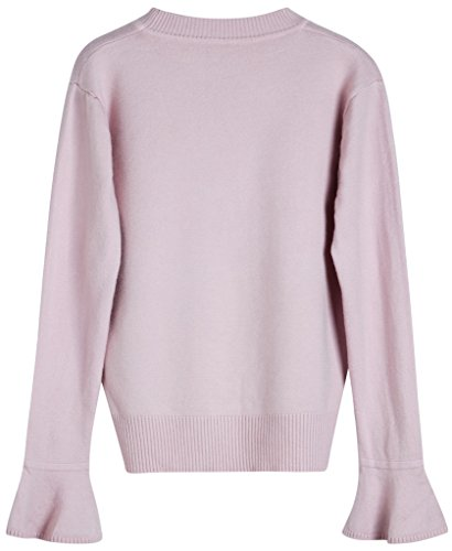 Vogueearth Fashion Hot Femme's Ladies Pagoda Manche Basic Knit Jumper Sweater Chandail Tricots Pullover Top Rose