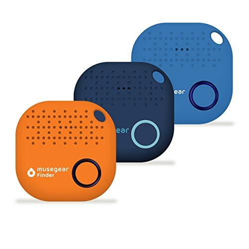 musegear® Schlüsselfinder mit Bluetooth App aus Deutschland I Maximaler Datenschutz I 3er Pack I Xmas Limited Edition | dunkelblau, orange, hellblau