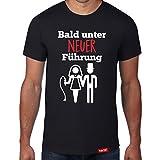 Bald unter neuer Führung // Original Hariz® T-Shirt - Sechzehn Farben, XS-4XXL // Junggesellenabschied | Geschenk | Team | Braut | Bräutigam #JGA Collection Black XL