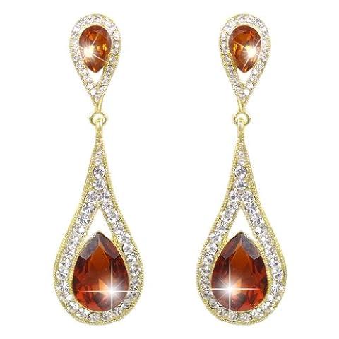 EVER FAITH® Art Deco Teardrop Austrian Crystal Dangle Earrings - Brown-Gold-Tone N01999-4