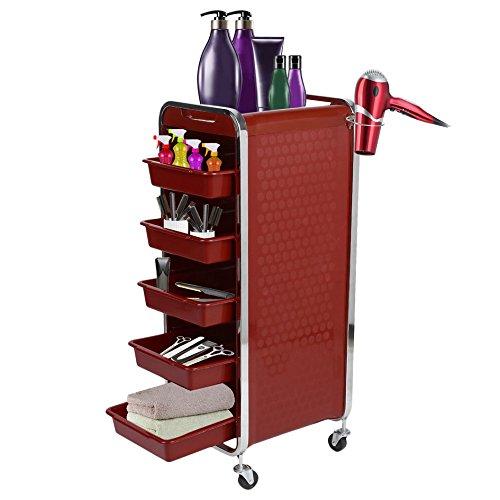 Homgrace carrello portaoggetti per parrucchiere a 6 ripiani con porta phon, carrello professionale per belleza estetista massaggi manicure spa (rosso)