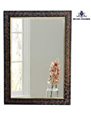 SEVEN HORSES Synthetic Wood Bathroom Mirror (Brown_15 X 21 Inch)