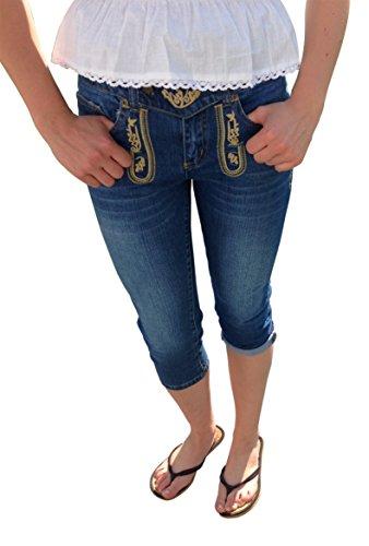 Trachtenjeans Trachtenhose Capri Caprijeans Damen Hose Bestickt Freizeit Business Blau stonewashed Baumwolle (52) (Jugendliche 5-pocket-jeans)