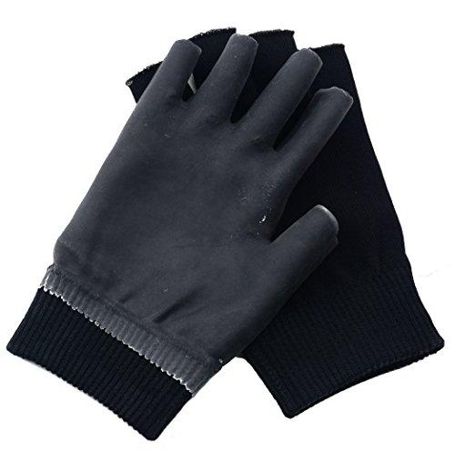 guanti manicure Guanti Makhry Moisturizing Spa Guanti Mezzi Finger Touch Screen Gel Line con oli essenziali e vitamina E (Nero)