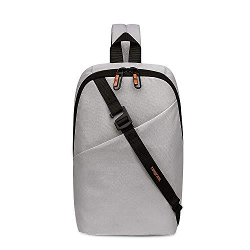 FANDARE Neu Herren Brusttasche Schultertasche 7.9 inch iPad Sling Bag Rucksack Umhängetasche Sporttasche für Wandern,Abenteuer,Sport, Reisen,Joggen Wasserdicht Polyester Weiß