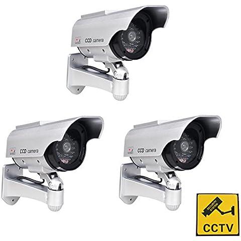Phot-R 3x accionada solar al aire libre del CCTV imitacion falsa cubierta IR LED parpadeante Camara luz intermitente roja Vigilancia de seguridad Mini velocidad simulada de la boveda I con Etiqueta de advertencia