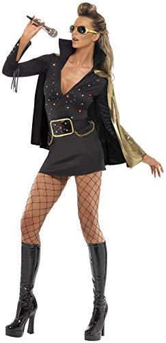 Sexy Elvis Kostüm Damen - Smiffys, Damen Elvis Viva Las Vegas Kostüm, Kleid und Umhang, Größe: S, 33253