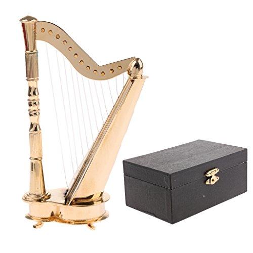 Homyl Mini Musikinstrument Modell mit Box & Ständer, Zubehör Für 1: 6 Aktion Figuren / Puppen - Harfe