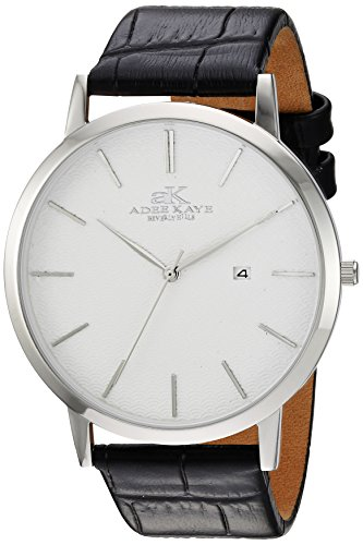Adee Kaye Men's Quartz Stainless Steel and Leather Casual Watch, Color:Black (Model: AK3331-M/SV)
