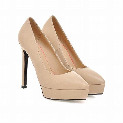Mee Shoes Damen elegant spitz Stiletto Geschlossen Geschlossen Plateau Pumps Tanzschuhe Aprikose