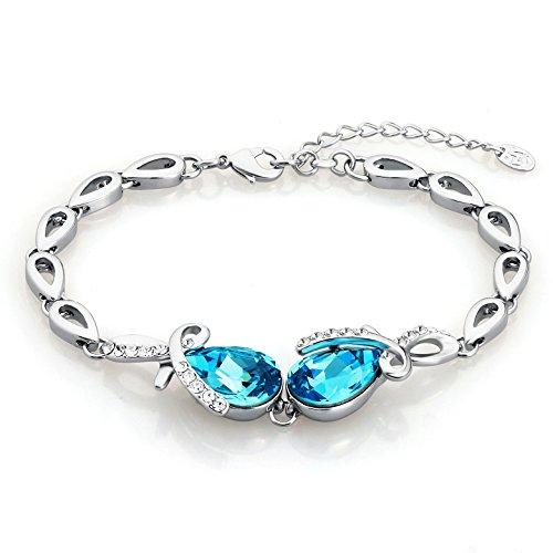 rovski Elements Kristall Silber Blau Damen (Einfach Gute Halloween-kostüme Zu Machen)