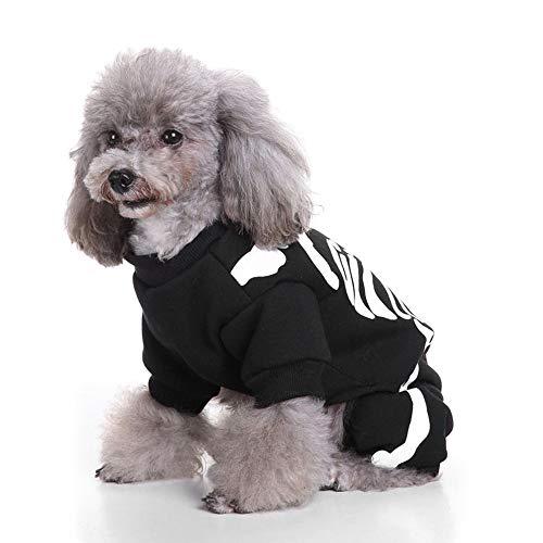 Kostüm Einfache Aber Coole - Party Dog Cool Kostüm Welpen Skeleton Print Kleidung Pet Fashion Cosplay Kostüm für kleine und mittlere Haustiere,Schwarz,M