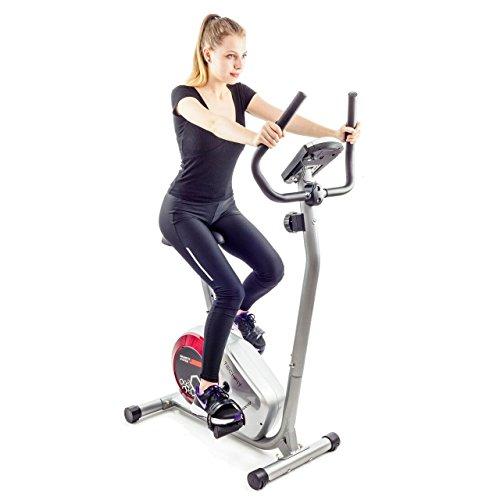 Heimtrainer Magnetische (Techfit B310 Magnetisches Fitness Heimtrainer, Weightloss Cardio Maschine mit verstellbarem Sattel, Pulssensoren und LCD Monitor)
