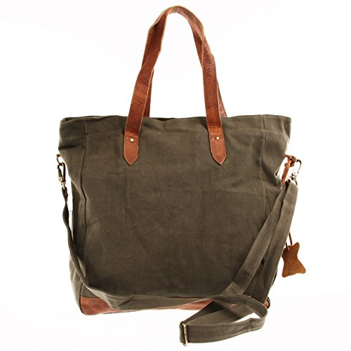 LECONI XL Shopper Canvas Leder Vintage Style Weekender Tasche Damen Beuteltasche 35x39x20cm LE0040-C grün / braun
