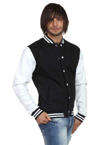 Urban Classics Herren College Jacke Duke Schwarz Weiß