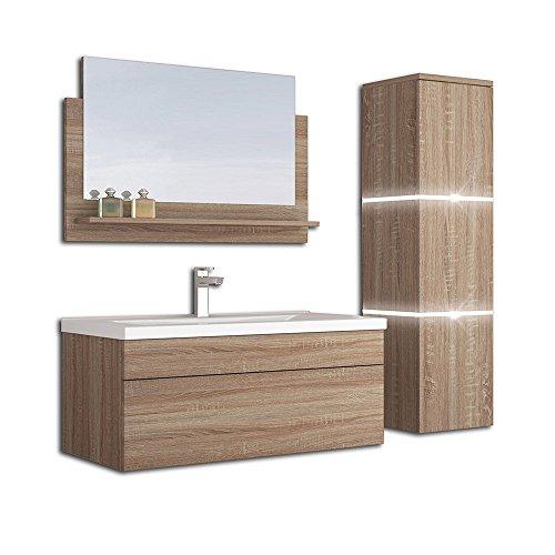 Home Deluxe - Badmöbel-Set - Wangerooge Big Holz - L - inkl. Waschbecken und komplettem Zubehör - Verschiedene Größen