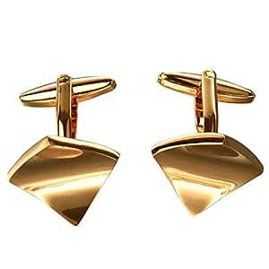 1 paire Hommes Boutons de Manchette en Acier Inoxydable - d'Or