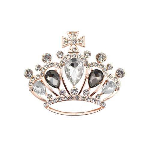 Fashion oro corona diamante nero cristallo croce Coat Camicetta Ragazza Spilla br376