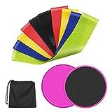 LARRY SHELL 2 Gliding Discs Core Sliders und 5 Übung Resistance Bands | Stärke, Stabilität, Übung Core-Sliders und Crossfit-Training für Home, Gym, Reisen | Physikalische Therapie & Carry Bag