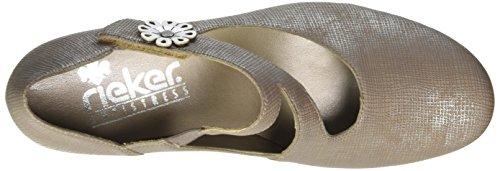 Rieker 47680, Scarpe con Tacco Donna Beige (fango-silver/Argento / 64)