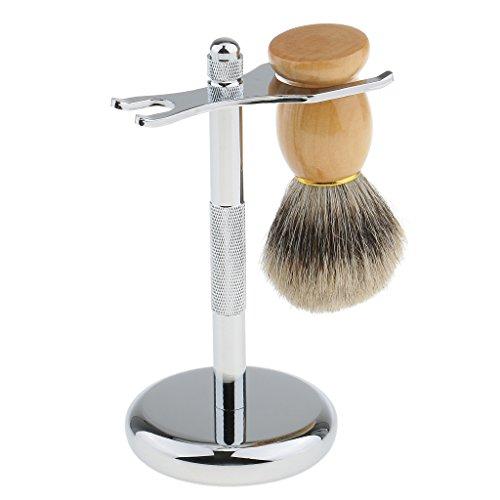 Sharplace Outil de Rasage en Alliage Amovible Support Rasoir Blaireau pour Hommes + Blaireau / Brosse à Raser - Display Stand