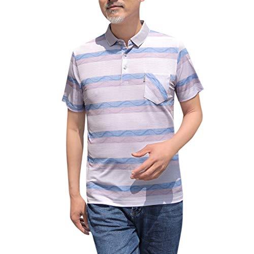 Streifen Poloshirt Herren Kurzarm Einfarbig Kurzarmshirt Polohemden Knopfleiste Mittleren Alters Papa Casual T-Shirt Slim Fit Sommer mit Tasche -