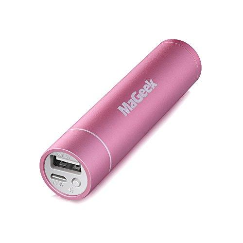 MaGeek Atom1 3350 mAh Mini Batería Externa de Aluminio con Forma de Lápiz Labial Cargador Portátil con Tecnología UniCharge para iPhone, iPad and Samsung Galaxy y Más
