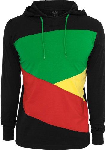 Urban classics ziG zaG sweat zippé à capuche en jersey tB523 coupe regular fit Multicolore - Black/Charcoal/Grey