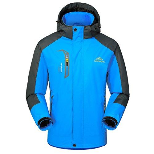 GIVBRO Wasserdichte Regenjacke Herren Softshell Sport Outdoorjacke 2018 Funktions Atmungsaktive Hooded Camping Hiking Jacke Blue Micro Performance Fleece