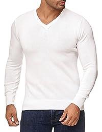 MOKIES Herren Pullover mit V-Ausschnitt oder Rundhals - Modern-Fit -  Hochwertige Baumwollmischung b394a98dc0
