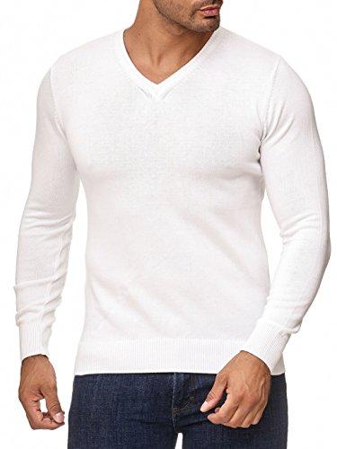MOKIES Herren Pullover - V-Ausschnitt - Modern-Fit - Hochwertige Baumwollmischung - Feinstrick-Pullover - Weiß 3XL