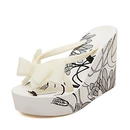 SHANGXIAN des femmes flip-flops Sandales compensées white