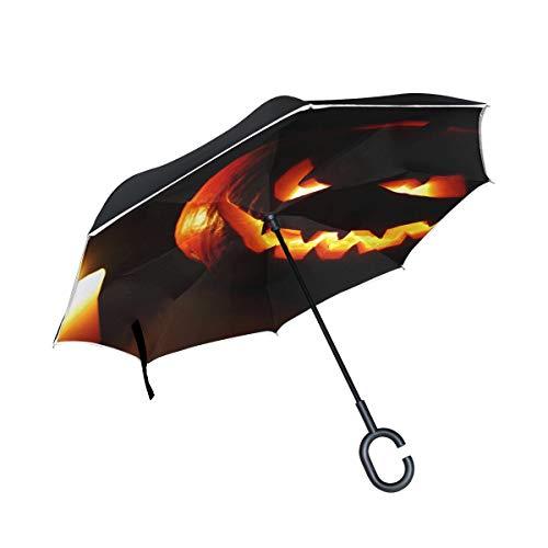 Halloween schnitzte Kürbis Kerze Doppelschicht die Anti Uv Schutz wasserdicht winddichtes gerades Auto Golf umgekehrtes umgekehrtes Regenschirm Stand mit C förmigem Griff für den Auto Regen im ()
