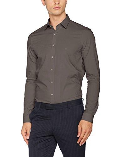 Calvin Klein Herren Businesshemd Venice Extra Slim Fit Ftc, Grau (Charcoal 015), Medium (Herstellergröße: 38) (Hemd Langarm Klein Calvin)