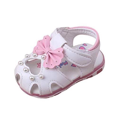 Voberry Voberry Baby-Girl's Led Bowknot Flower Sandals Princess Single Summer Shoes