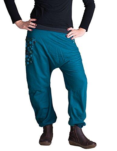 Vishes – Alternative Bekleidung – Haremshose mit hohem Schritt aus warmer, dicker Baumwolle Türkisblau