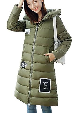OMZIN Frauen Hooded Thick Cotton Daunenmantel Puffer Pelzkragen Jacke Grün 2XL