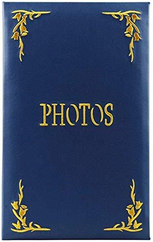 Yxynb album fotografico slot blu stile retrò album, copertina ricamata in pu, nucleo ecologico, foto 6 × 4''240, memoriale della famiglia foto d'affari turismo turismo