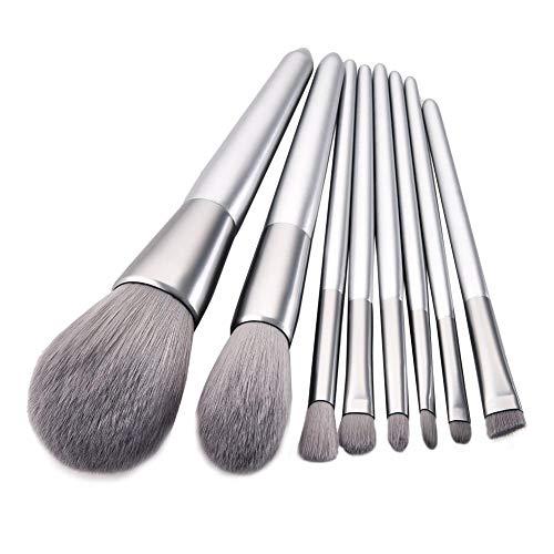 Silber Lose Puder (8 Teile/Satz Make-Up Pinsel Set, Silber Pinsel Flammenpinsel Lose Puderpinsel Makeup Tools)
