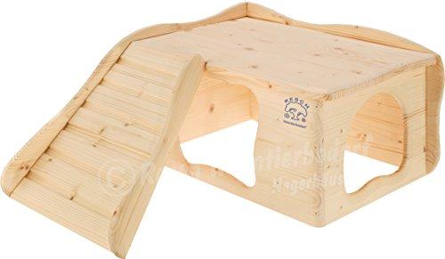 Resch Nr22 Wohlfühlhaus Großglockner naturbelassenes Massivholz aus Fichte/mit Treppe zur Liegeterasse, großen Eingängen und gerundeten Ecken - Schwein Hütten