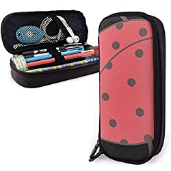 Trousse à crayons en cuir d'unité centrale mignonne de coccinelle, ceintures élastiques de double tirette pour le bureau d'école 1.5in X 3.5 X 8 dans
