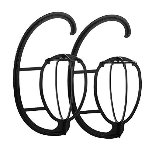 2 Perücke (2Stück tragbare Perücke Kleiderbügel, vankcp Haltbar zum Aufhängen Perücke Halter, klappbar Perücke Trockner, Display Halter Ständer Werkzeug für Perücken, GAP, Hüte (schwarz))