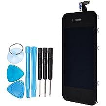 LL Trader Para iPhone 4 Negro LCD Digitalizador de pantalla táctil Full montaje lente de cristal de repuesto incluye botón de inicio y herramientas de reparación