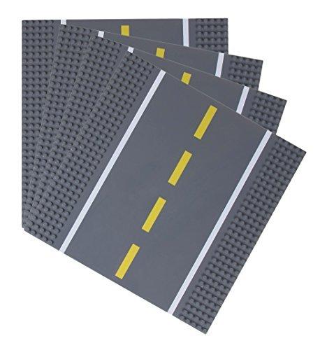 Strictly Briks - Bauplatten Straße - gerade - Bauplatten für Straßen, Städte, Garagen & mehr - 100 % kompatibel mit Allen führenden Marken - 10 x 10 (25,4 x 25,4 cm) - 4 Stück