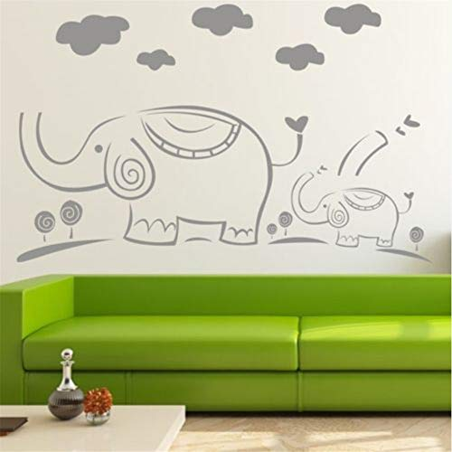 Zxfcccky Dos Elefantes Nube Pegatinas De Pared Decoración Extraíble Home Vinyl Decal...