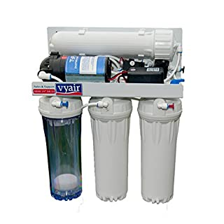 Vyair 50 Gallons-Per-Day RO-50MP Reverse Osmosis 4-Stage Purification System (24DC Electric Pump with DI Resin Chamber) for Aquariums Drinking Water Pharmaceuticals Plant Propagation Window Cleaning