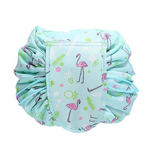 Grande capacità Borsa da toilette trucco pigro Portatile con cordino Viaggiare casual Impermeabile Quick Pack Borsa per trucco magica Perfezionare per le donne ragazze (Verde)