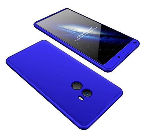 2ndSpring Xiaomi Caso F1 Pocophone, Encuadre de cuerpo de plástico duro de la piel a prueba de golpes Shell con vidrio templado de protector de pantalla Xiaomi Mix 2 5.99 Azul